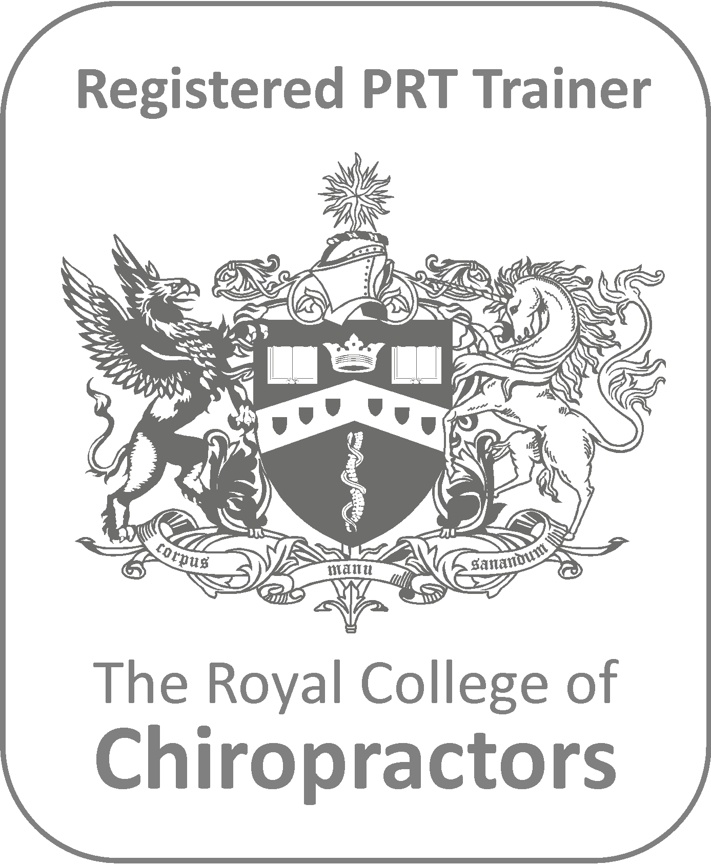 RCC Royal College of Chiropractors PRT post registration training logo badge